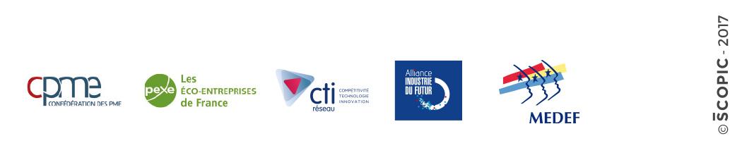 Logos des partenaires : CPME, PEXE, CTI, Alliance Industrie du futur, MEDEF